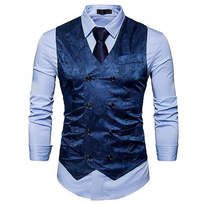 Zalaor Mens Business Suit Vest Waistcoat Wedding Dress Vest Slim Fit