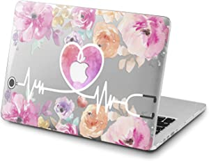Lex Altern Clear Case for Apple MacBook Air 13 Mac Pro 15 inch Retina 12 11 2020 2019 2018 2017 2016 Floral Laptop Pink Touch Bar Shell Protective Heart Flower Design Medicine Doctor Nurse Cover