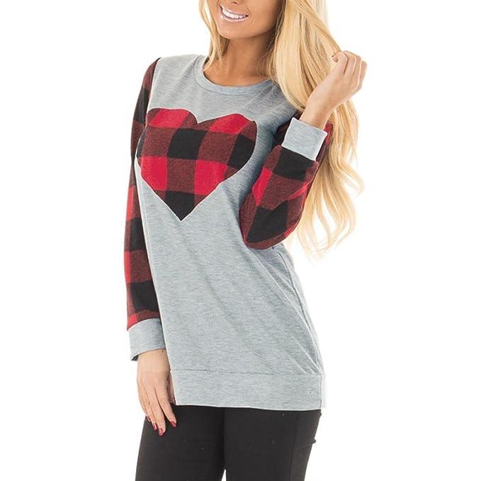 K-youth® Blusas Para Mujer, Valentín Camisa de Manga Larga Para Mujer Casual