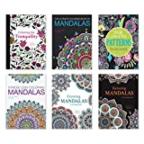 Adult Coloring Books - Set of 6 Coloring Books, Many Different Designs Combined! Mandala Coloring Books for Adults with Detailed Flower Designs Printed on Heavy Paper.