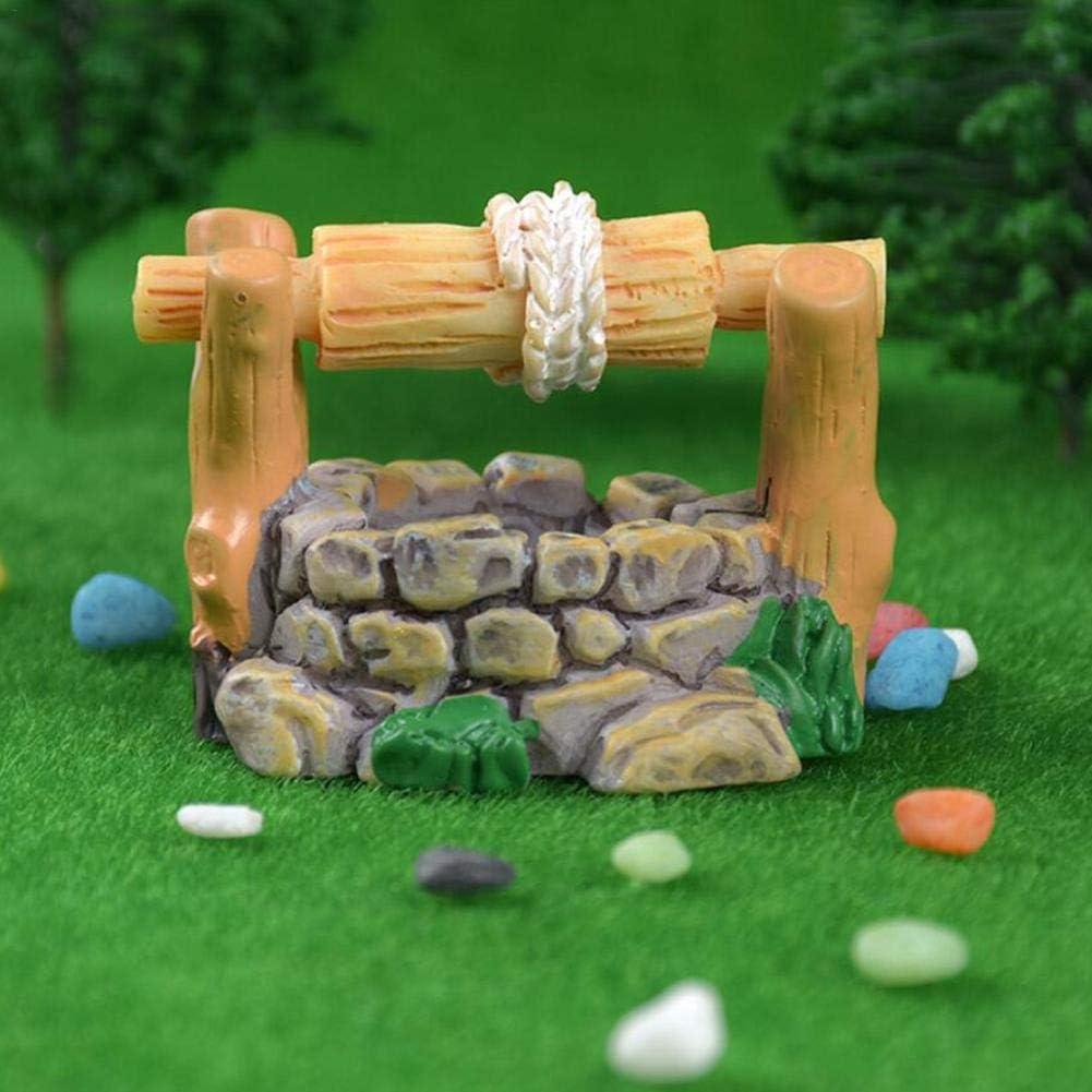MezoJaoie Miniature Paysage Micro Paysage Ornements R/étro Puits Courants De Montagne Enjeux en Bois Piscines Prairies pour La D/écoration De La Maison
