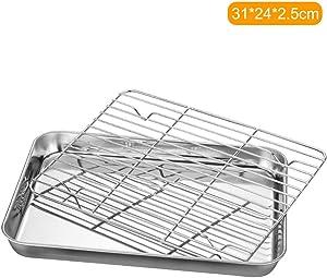 Loski Stainless Steel Flat Bottom Baking Tray with Mesh Set Stainless Steel Flat Bottom Baking Tray with Mesh Set Square Barbecue Plate with Cooling Rack Drip Pan Baking Plate Barbecue Tray Bakeware