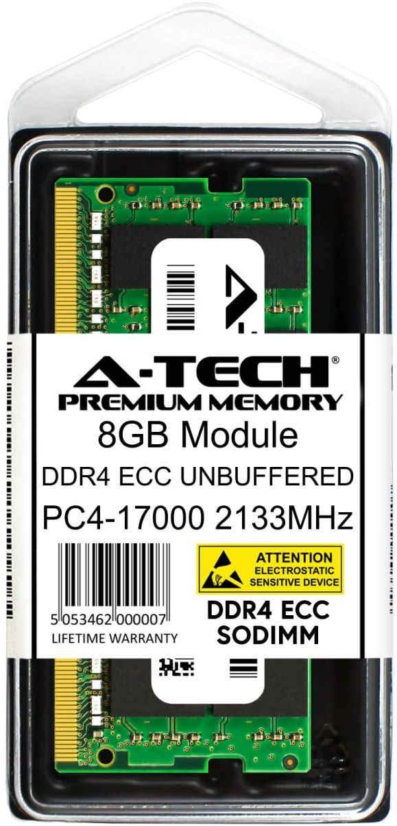 DDR4 2133MHz PC4-17000T-E UNBUFFERED SO-DIMM 2rx8 1.2v A-Tech 8GB Replacement for Micron MTA18ASF1G72HZ-2G1 Single ECC SO-DIMM Server Memory Ram Stick MTA18ASF1G72HZ-2G1-ATC