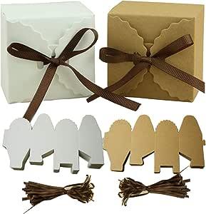 Mengger Cajas para Dulces Regalos Cajita Paper Kraft Carton Bombones Caramelos Navidad Boda Cumpleaños Fiesta Bautizo Graduación con Decoración 50Pcs,cajitas para regalos: Amazon.es: Hogar