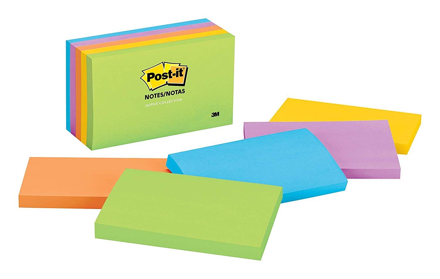 Post-its Notes, 3 in x 5 in, Jaipur Collection 3PD6N, 5 Pads/Pack, 4 Pack Bundle Bonus Sharpie Permanent Marker