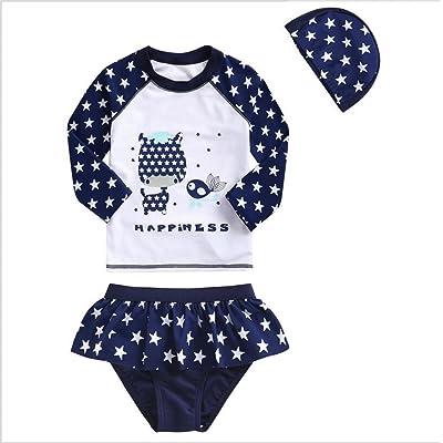 ZYZF Kid Girl Tankini Bikini Swimwear Long Sleeve Swimsuit Rash Guard UPF 50+ UV