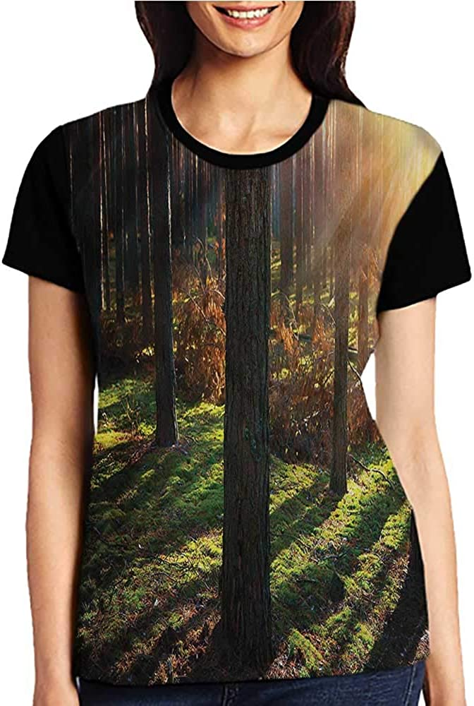 Girls Short Sleeve T-Shirts,Woodland,Boho Tribal Owl and Deer S-XXL for Women Super Mom