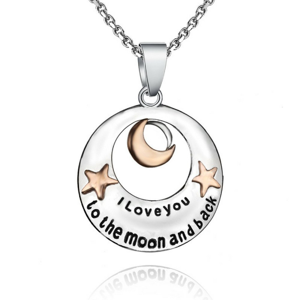 I Love You to The Moon and Back Pendant Necklace - Best Jewelry Gift - 19''