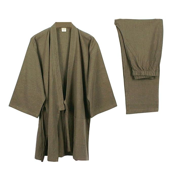 Elegante Estilo japonés de Las Mujeres de Manga Larga Trajes de algodón Kimono Traje de Pijama Suit Dressing Set- # A: Amazon.es: Ropa y accesorios