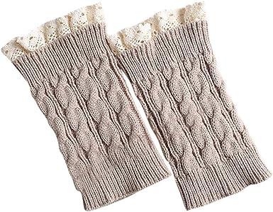 Women Leg Warmer Gifts Knitted Socks Winter Crochet Leggings Lace Button Toppers