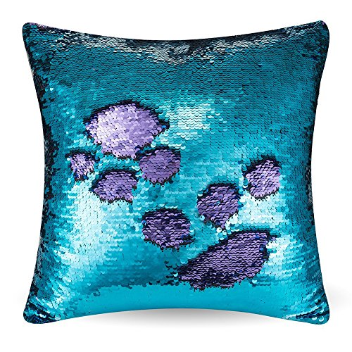 "Party Pillowcase - URSKYTOUS Reversible Sequin Pillow Case Decorative Mermaid Pillow Cover Color Changing Cushion Throw Pillowcase 16"" x 16"",Turquoise and Purple"