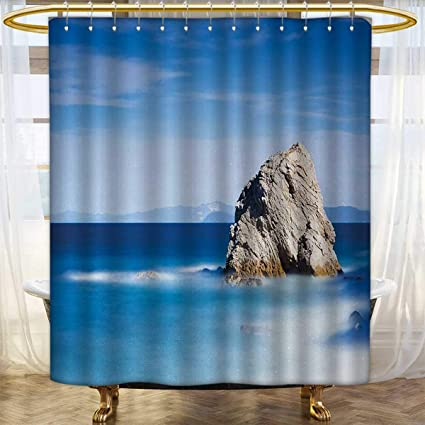 Anhounine Italian Shower Curtains With Hooks Big Formless Rock Seascape And Sky European Secret