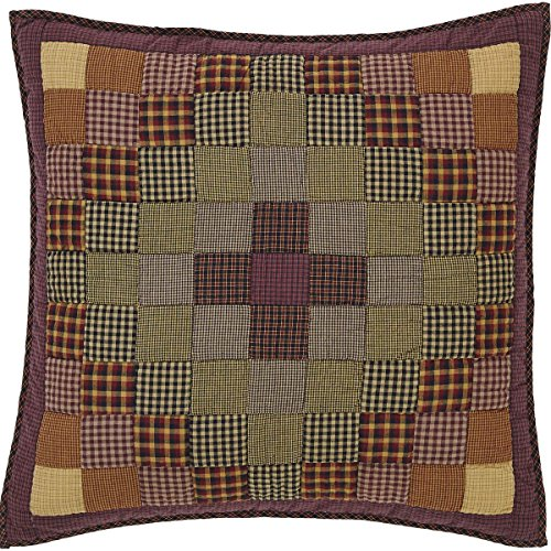 VHC Brands Rustic & Lodge Primitive Bedding - Heritage Farms Red Quilted Euro Sham, Crimson