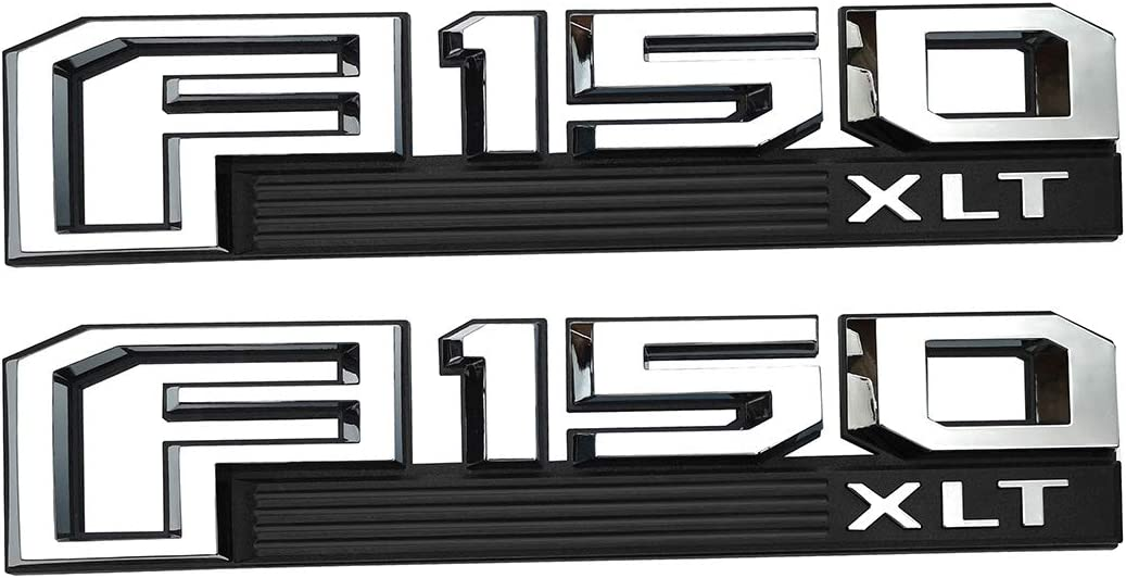 Chrome black 2Pcs OEM F150 XLT Emblems 3D Nameplate Badge for Drivers Side Rear Tailgate Decals Replacement for 15-18 F-150 Original Size