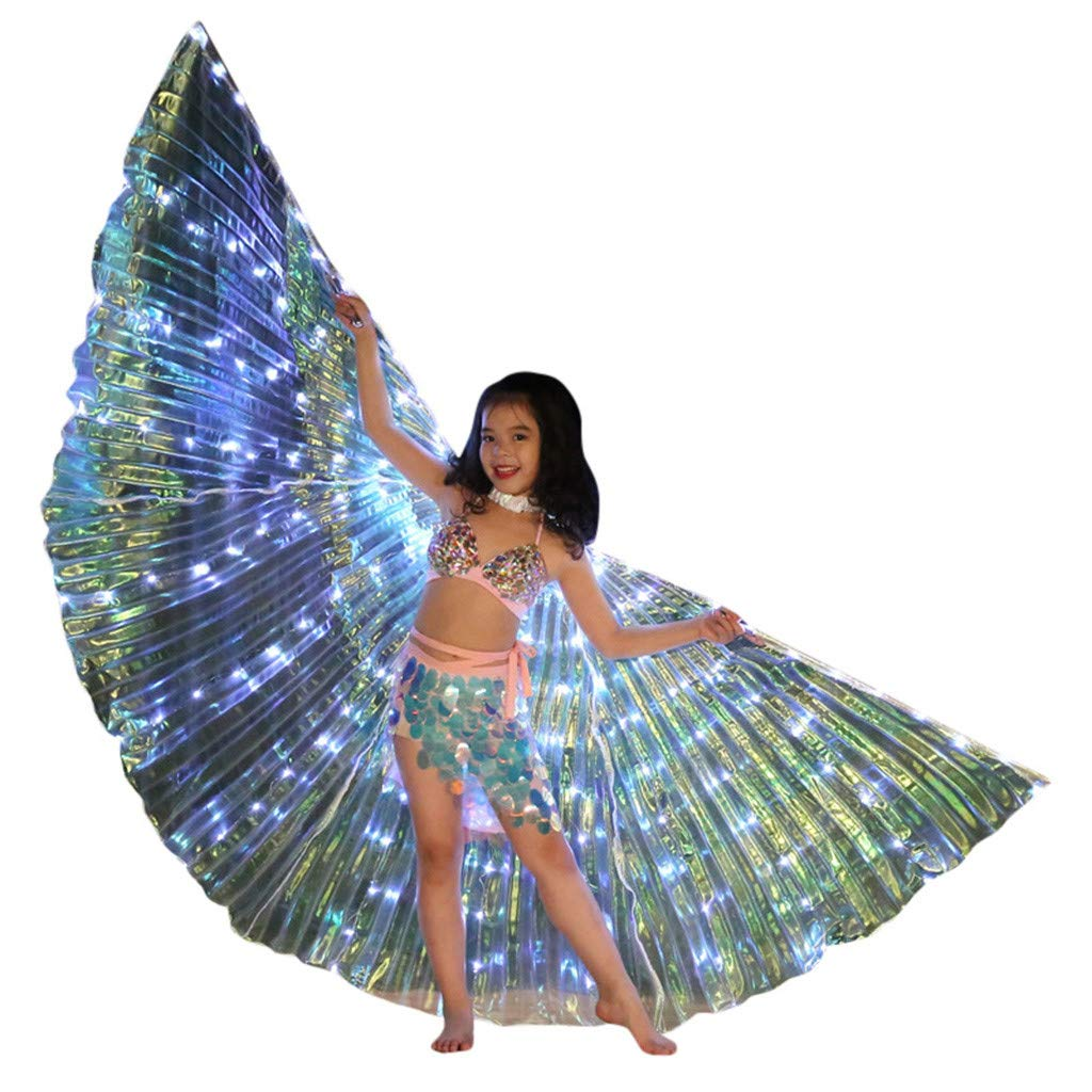 Flurries  Children LED Glow Angel Isis Wings for Kids - Belly Dance Costume Cloak - White Butterfly Wings - Performance Clothing Cosplay Prop - Carnival Halloween Shows (with Sticks) by Flurries