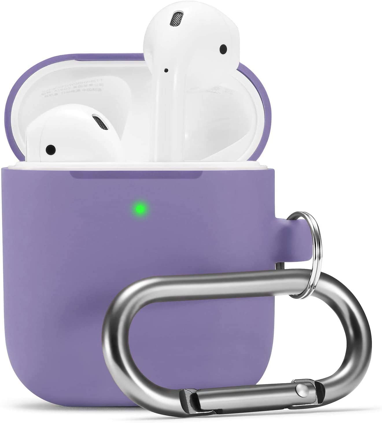 Camyse Airpods Case, Airpod Silicone Skin Cases Cover, Full Protective Durable Shockproof with Keychain Compatible with Apple Airpods 2 & 1 Charging Case,AirpodsAccesssories (Pastel Purple)