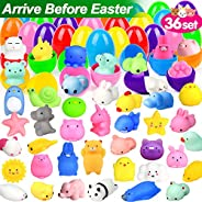 ORWINE 36Pcs Easter Eggs + 36Pcs Mochi Squishy Toy Easter Basket Stuffers Easter Egg Fillers Mini Squishies Party Favors for