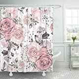 Hot Pink and Brown Shower Curtain TOMPOP Shower Curtain Pink Flowers and Leaves on Watercolor Floral Pattern Rose Waterproof Polyester Fabric 72 x 78 Inches Set with Hooks