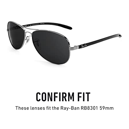 fcb679cb636 Amazon.com  Revant Polarized Replacement Lenses for Ray-Ban RB8301 59mm  Elite Black Chrome MirrorShield  Sports   Outdoors