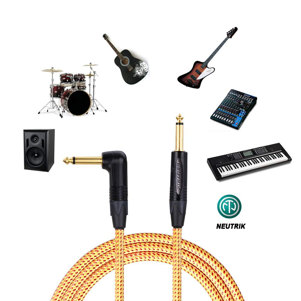 SPEAKFRIENDS Gold Instrument Cable 20 ft Neutrik 1//4 Straight to 1//4 Right Angle Guitar Cables 20ft