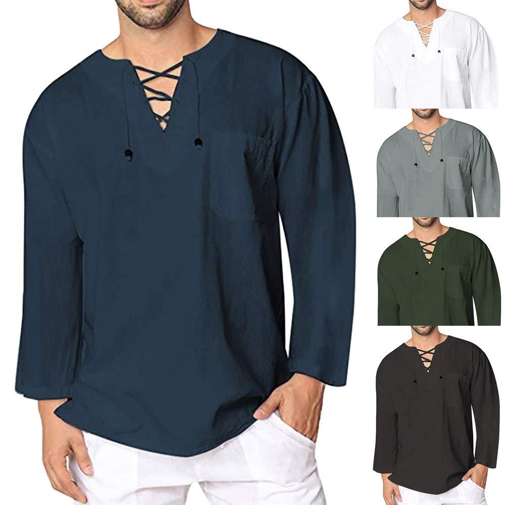 Covermason Tops Blouse T-Shirt Homme de l'automne Hiver Vintage Casual Coton Lin Manches Longues T-Shirt Chemisier Haut Blanc