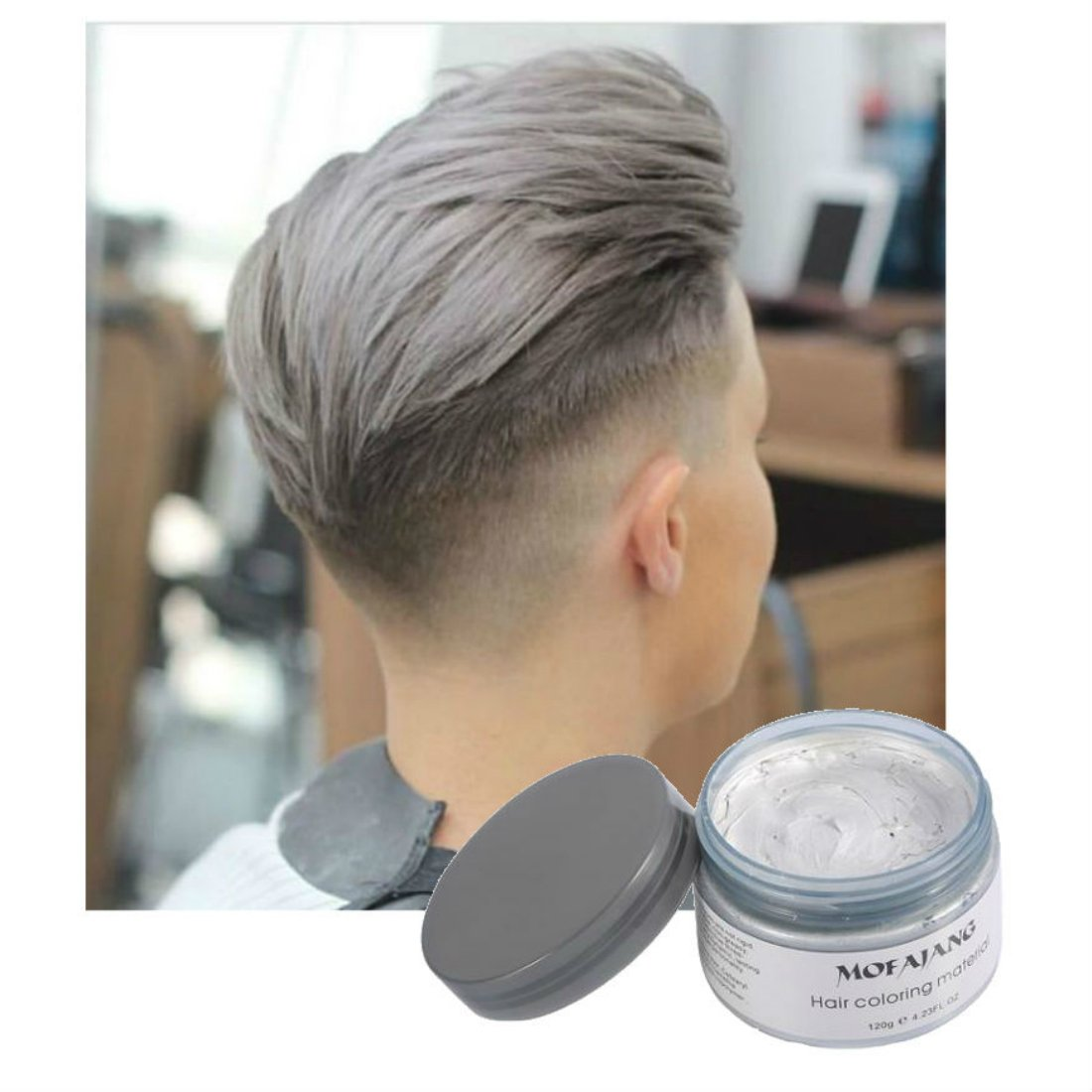 Hair Wax Color - Styling Cream Mud - Natural Hairstyle Dye Pomade - Party Cosplay - Gray - Vakker