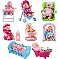 deAO Colección de Muñecas Bebé Tamaño Mini (13cm) y Accesorios Conjunto Incluye 8 Muñecas, Bañera, Trona, Carrito, Cuna…