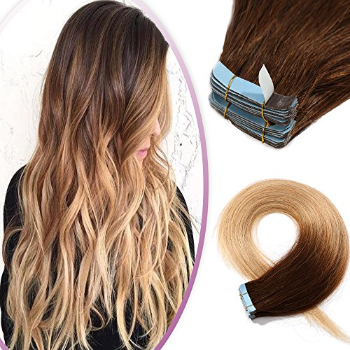 20 Inch Ombre Tape in Human Hair Extensions Remy Hair 100g 40Pcs 2 Tones #4/27 Medium Brown to Dark Blonde Hair Seamless Skin Weft Glue in Hairpieces with 10 Double Sided Tapes ()