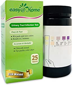Easy@Home 25 Tests/Bottle Urinary Tract FSA Eligible Infection UTI Test Strips, Monitor Bladder Urinary Tract Issues Testing Urine-FDA Cleared for Over The Counter (OTC) USE, Urinalysis (UTI-25P)