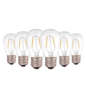 Genixgreen - Bombilla LED de filamento vintage ST45, 1 W, E27, luz blanca