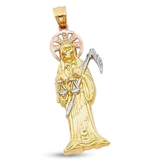 Amazon santa muerte pendant solid 14k yellow white rose gold santa muerte pendant solid 14k yellow white rose gold angel of death charm grim reaper 38 mozeypictures Images