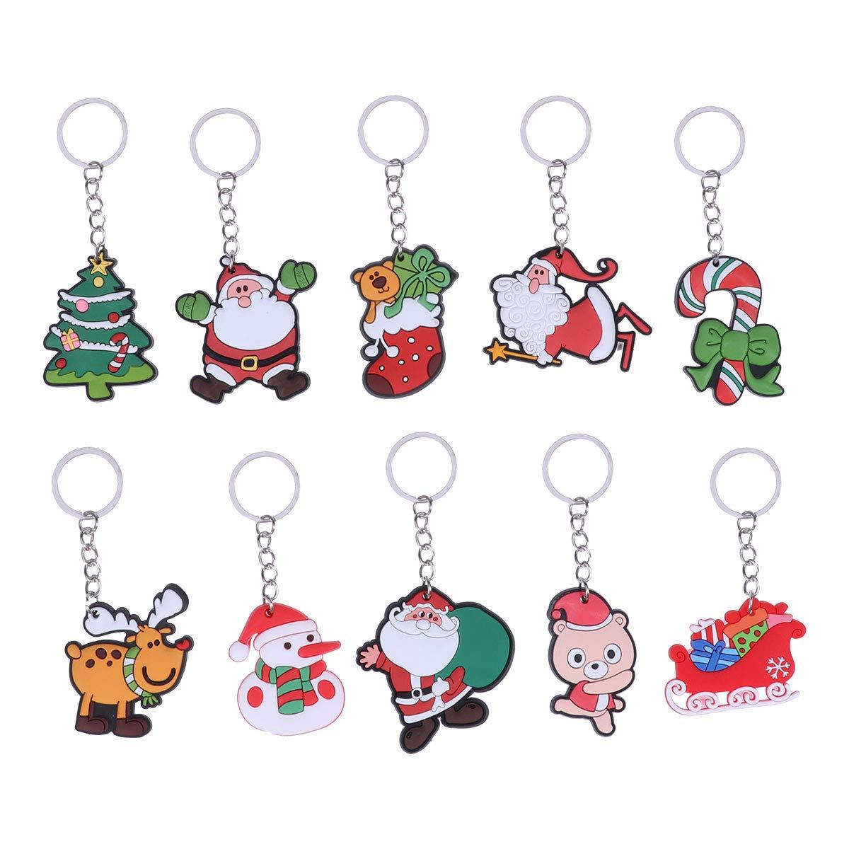 YeahiBaby 10PCS Christmas Keyring Keychain Car Purse Bag Pendant Decoration Christmas Party Ornaments