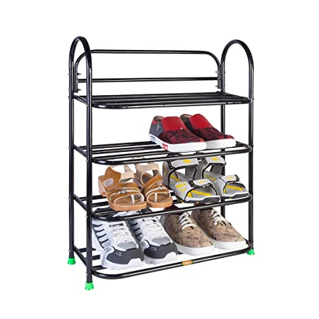 Patelraj Metal Shoe Stand  Black, 4 Shelves  Shoe Racks