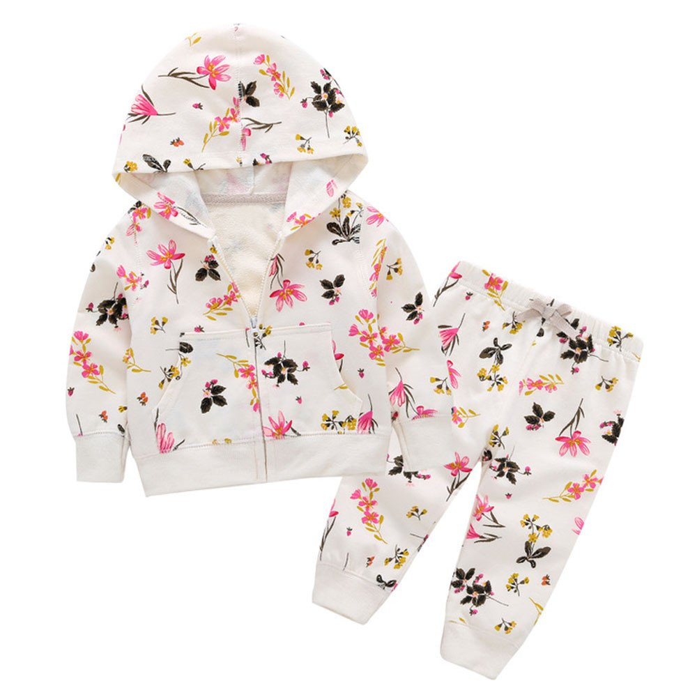 Toddler Baby Girls Floral Print Hooded Top Pants Clothes Set by Changeshopping Changeshopping Baby Change057