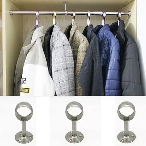 10 X Wandmontage Kleiderstange Halterung Schraubbefestigung Chrom Hänge Für 25mm
