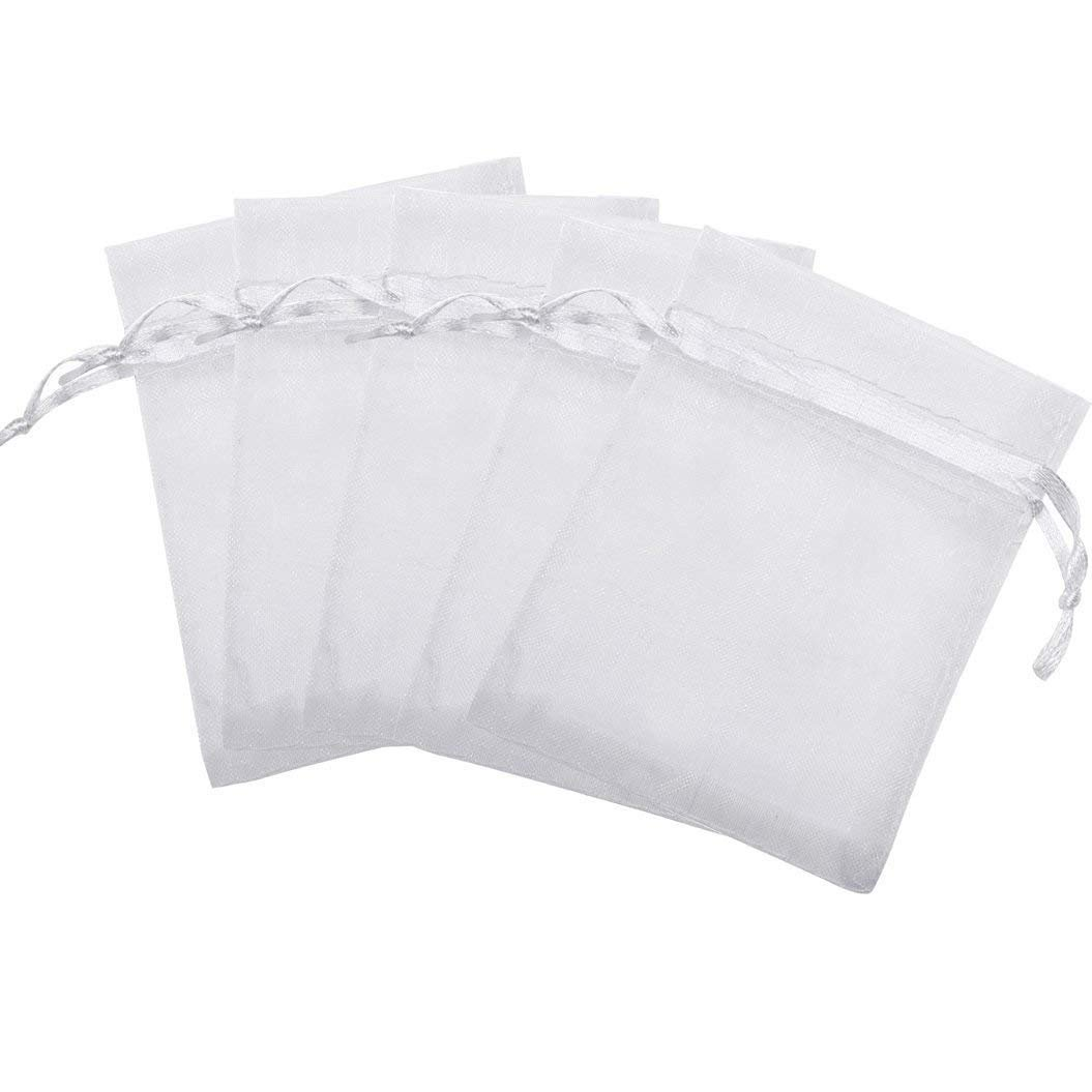 100pcs White Organza Drawstring Gift Bags, Marrywindix Wedding Party Favour Gift Bags Jewelry Pouches