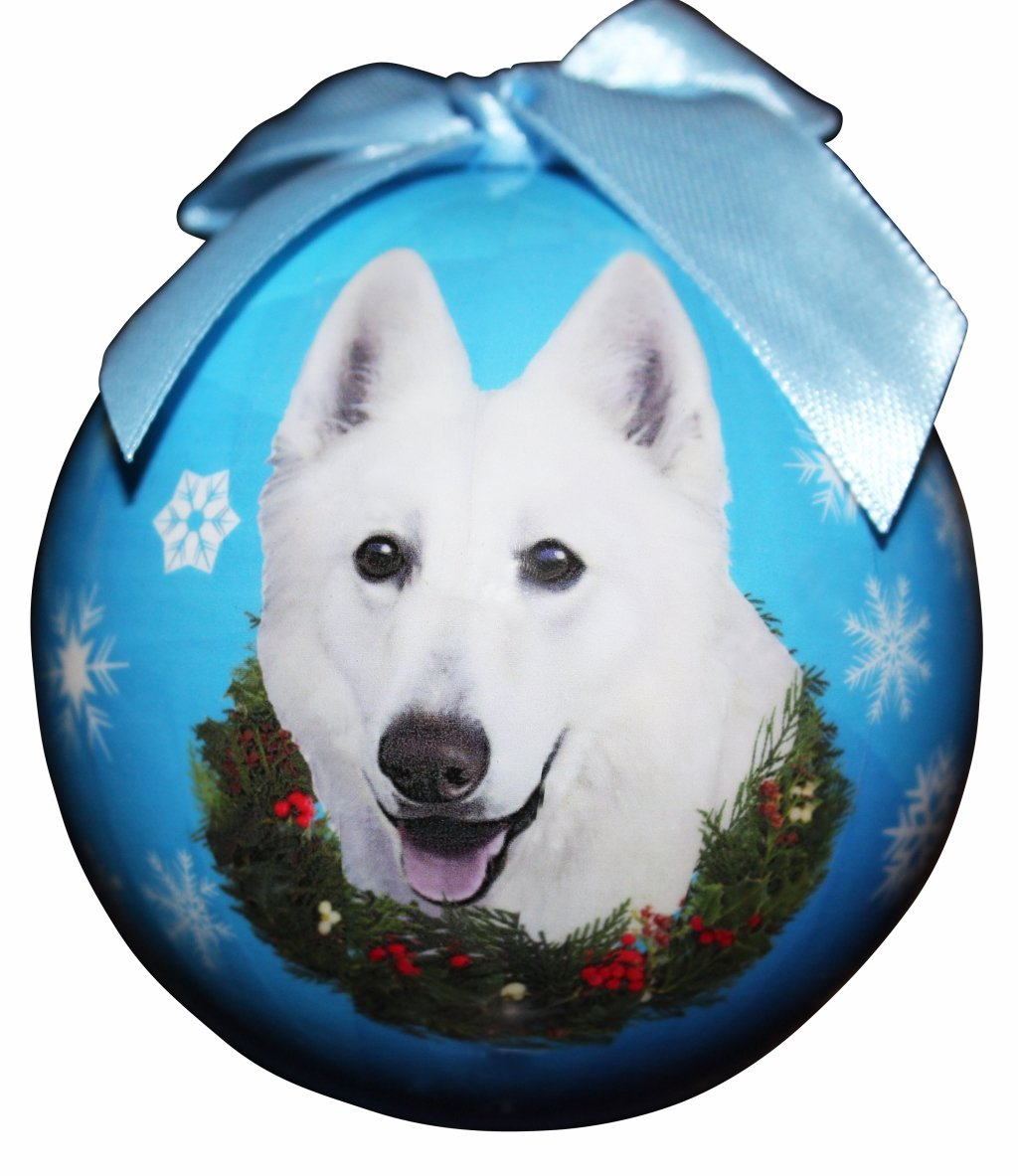 """German Shepherd, White Christmas Ornament"" Shatter Proof Ball Easy To Personalize A Perfect Gift For German Shepherd Lovers"