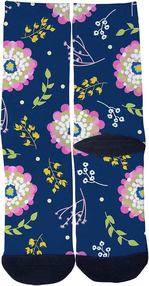 Floriography Floral Navy Blue Socks Mens Womens Casual Socks Custom Sports Socks Creative Fashion Crew Socks