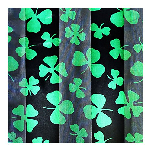 Black & Green Shamrock & Clover Silk-Feel Lightweight Long Scarf [14