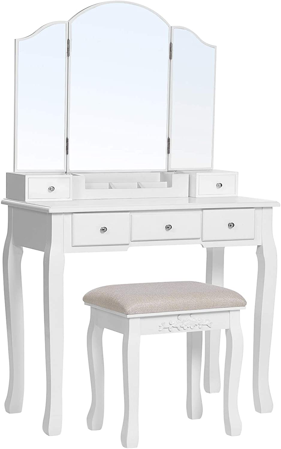Amazon Com Vasagle Vanity Set Dressing Table Set With Tri Folding Mirror Makeup Table With 5 Drawers And 1 Removable Storage Box Solid Wood Legs Cushioned Stool White Urdt28wt Furniture Decor