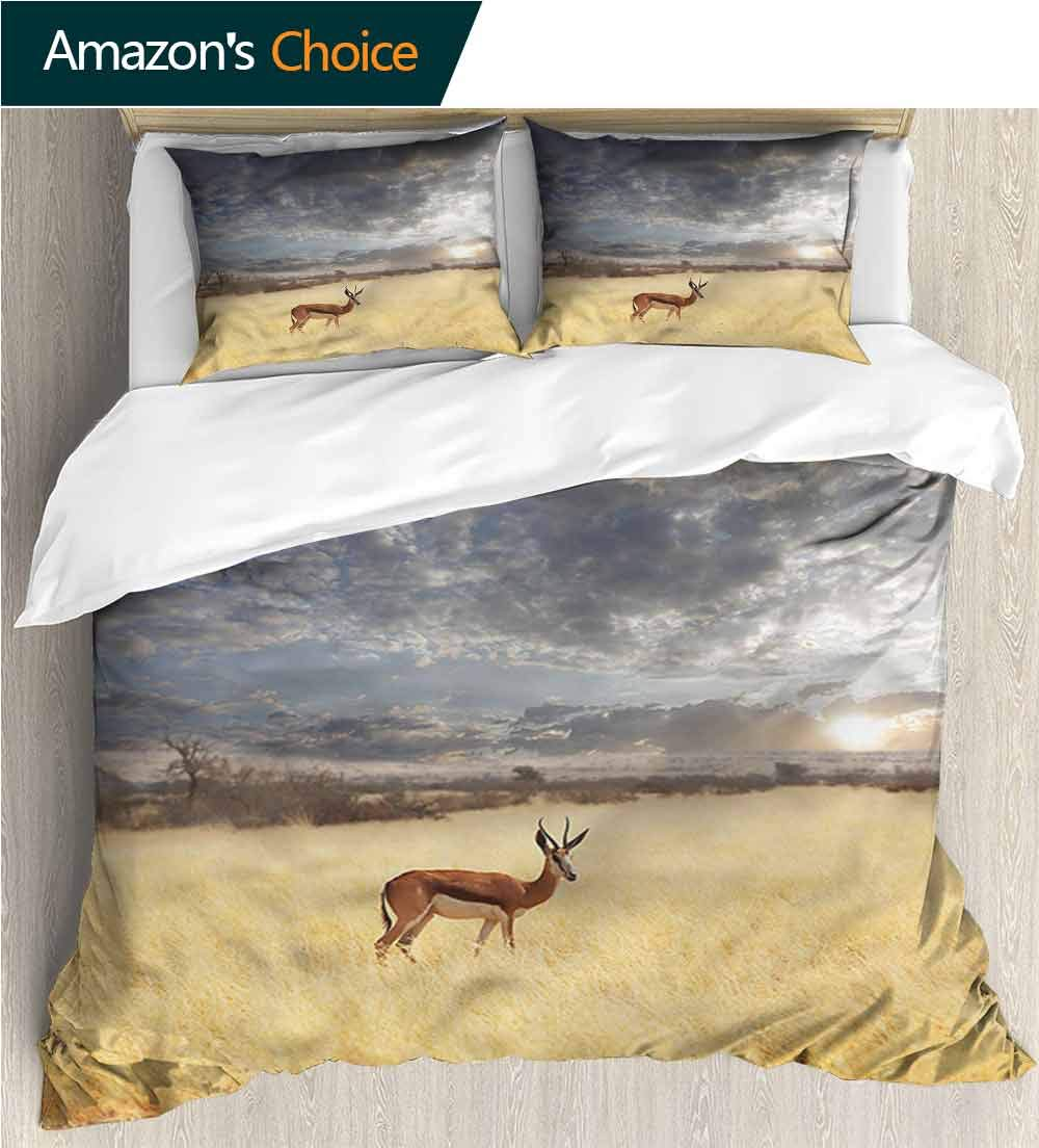 Bedspread Set Queen Size,Box Stitched,Soft,Breathable,Hypoallergenic,Fade Resistant Print,Decorative Quilted 3 Piece Coverlet Set With 2 Pillow Shams-Safari Antelope In Tranquil Nature (90''W x 90''L)