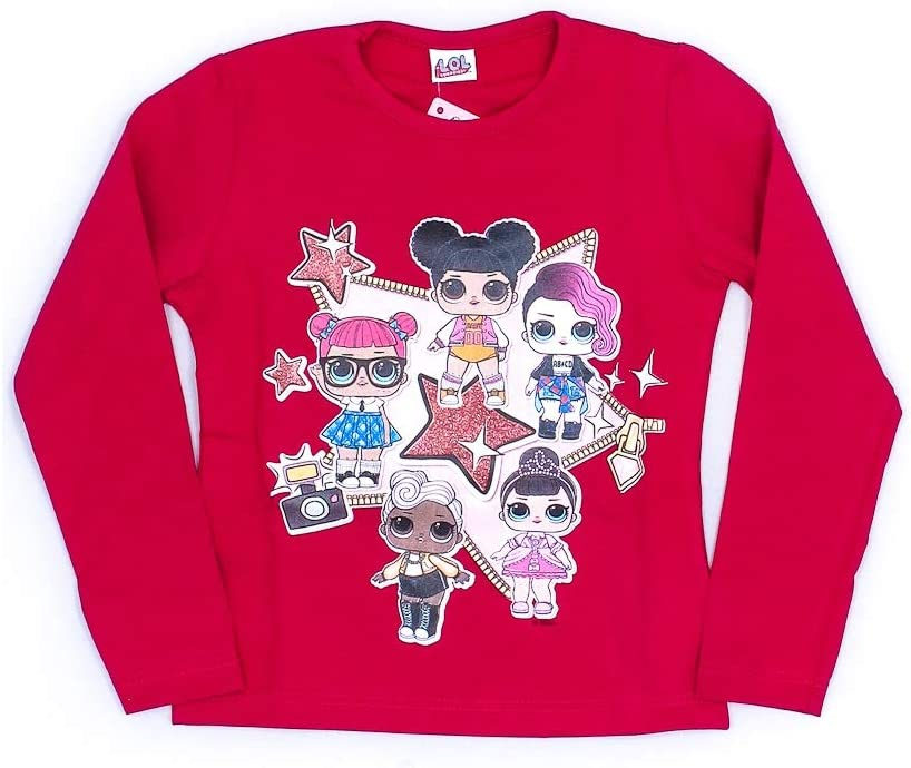 LOL Surprise - Camiseta de niña de algodón bielástico con Cuello Redondo - Art. 26029: Amazon.es: Ropa y accesorios