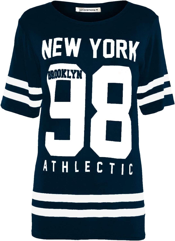 janisramone Womens Ladies New Baseball Newyork 98 Brooklyn Varsity Stripe Print Oversized Baggy T Shirt Top
