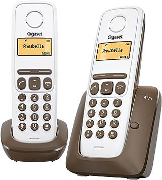 Gigaset A130 Duo - Teléfono fijo inalámbrico con pantalla (2 terminales), color blanco y marrón (importado): Amazon.es: Electrónica
