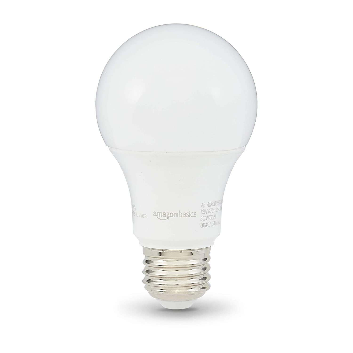 AmazonBasics 60W Equivalent, Daylight, Dimmable, 10,000 Hour Lifetime, A19 LED Light Bulb   6-Pack