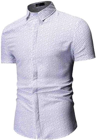 MineMine - Camisa de manga corta estampada para hombre blanco L: Amazon.es: Ropa y accesorios