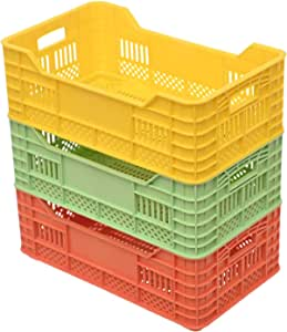 Plastic Sqaure Small Storage Baskets Set Of 3 Pieces For Accessories - Multi Color , 2725605573213