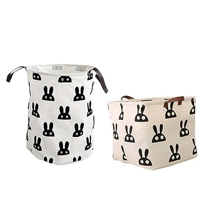 c515b0fbc Amazon.com  Jili Online 2 Pieces Strong Linen Rabbit Pattern Storage ...