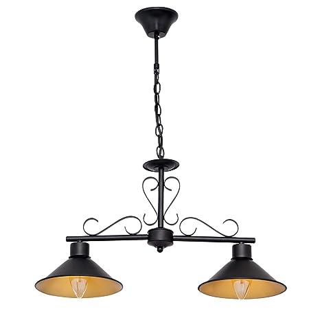 Lámpara buhardilla negra de 2 luces: Amazon.es: Iluminación