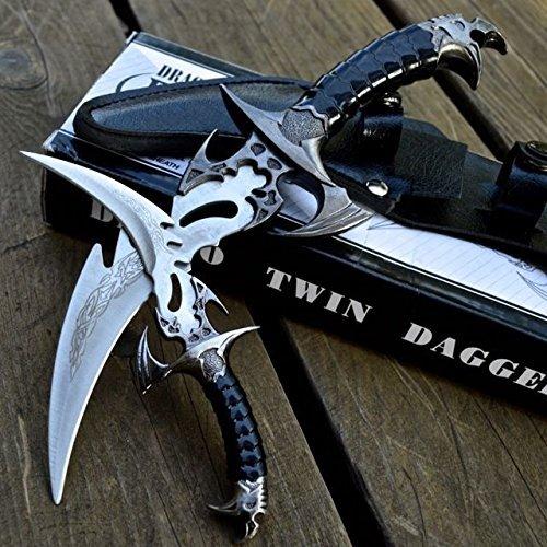 MOON KNIVES 2pc FANTASY CLAW Fixed Blade KNIFE TWIN DAGGER Set Draco w/ -